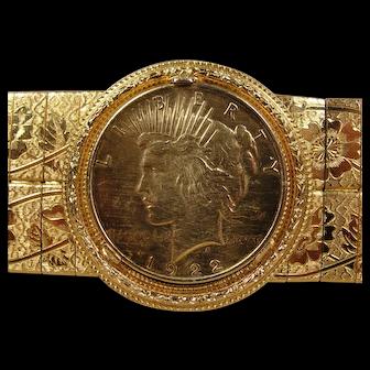 Bling One Dollar Coin Wide Bracelet
