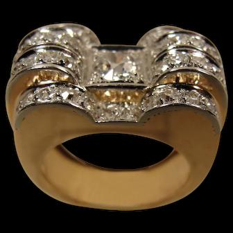 14K Retro Platinum  Diamond Ring Tank