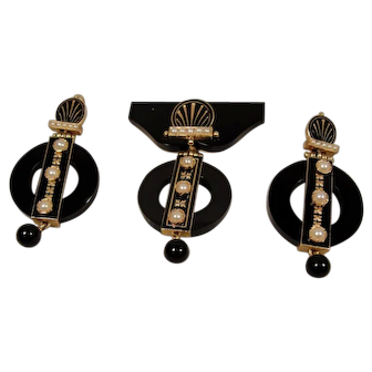 14K Victorian Onyx Pearl Enamel Pin and Earrings exceptional
