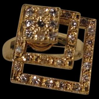 Vintage 14K Spinner Motion Diamond Ring