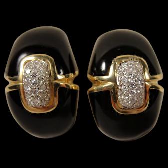 18k Diamond Enamel Earrings 1980s