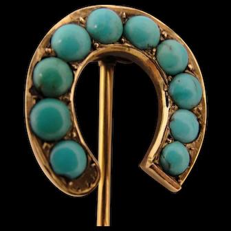 14K Antique Victorian Turquoise Horseshoe Stickpin Hat Pin