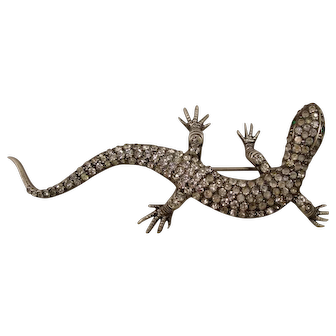 Antique Sterling Paste Lizard Large Pin Germany