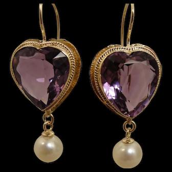 14K Vintage Amethyst Heart Pearl Earrings