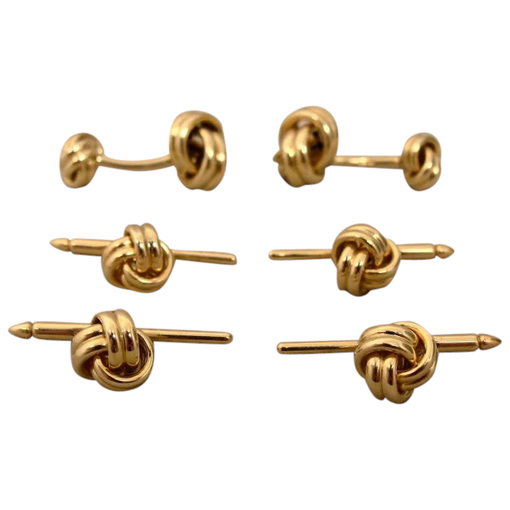 664f9ff90 14K Knot Cufflinks and 4 Four Knot Studs Signed : Jewelrider | Ruby Lane