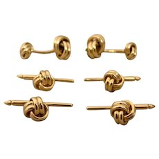 14K Knot Cufflinks and 4 Four Knot Studs Signed