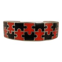 Vintage Red Black Enamel Sterling Puzzle Bracelet Cuff Man or Woman