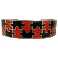 Vintage Red Black Enamel Sterling Puzzle Bracelet Cuff Man or Woman