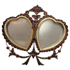 Victorian Bohemian Garnet Heart Bow Picture Frame WOW
