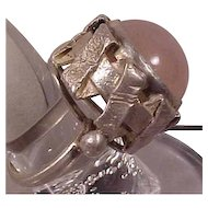 Vintage ORNO Poland Modernist Huge Pink Quartz Silver Ring