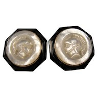 14K Carved Pearl Onyx Cameo Earrings Vintage