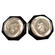 14K Carved Pearl Onyx Cameo Earrings Vintage