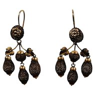 Victorian 10K Gold Hair Day Night Earrings 1840-1870 Exceptional