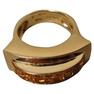14K  Vintage Modernist Citrine Large Sculptural Ring MMA