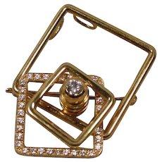 Kinetic 18K Spinner Motion Diamond Pin Pendant