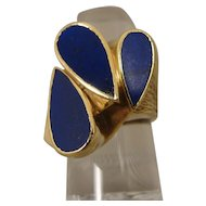 18K Modernist Lapis Sculptural Ring Italy