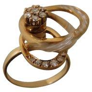 14K Teufel Swinger Spinner Motion Diamond Ring 1975 Kinetic