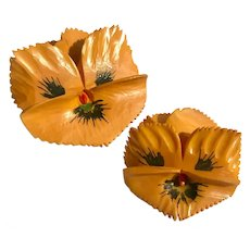 Pair of Bakelite Scatter Pins Carved and Hand Painted