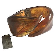 Lucite Bracelet Hinged ca. 1980s with Tag