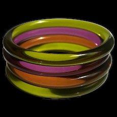 Lucite Bangle Bracelets Set of 4 - Red Tag Sale Item