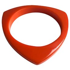 Bakelite Bangle Bracelet Carved Triangle - Red Tag Sale Item