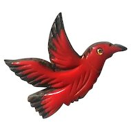 French Galalith and Wood Flying Bird Brooch