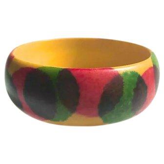 Bakelite Bangles Bracelet Sponge Painted Pink and Green Dots