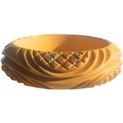 Fabulous Heavily Carved & Painted Bakelite Bangle Bracelet