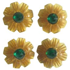 Bakelite Buttons Set of 4 Reverse Carved Apple Juice