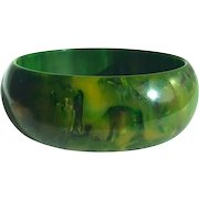 Bakelite Bangle Bracelet Gaudy Marbled Green and Yellow