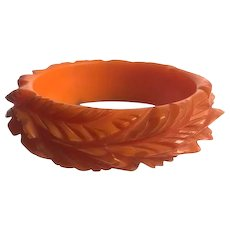 Bakelite  Bangle Bracelet Super Heavily Carved - Red Tag Sale Item