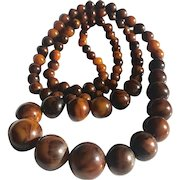 Bakelite Beaded Necklace 33 Inches Long