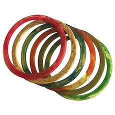 Bakelite  Bangle Bracelet Spacers Transparent Marbled