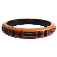 Bakelite  Bangle Bracelet Carved and Over Dyed