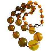 Bakelite Beaded Necklace Transparent Vaseline Green