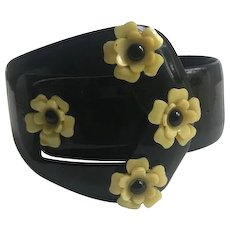 Celluloid Bracelet with Attached Celluloid Flowers
