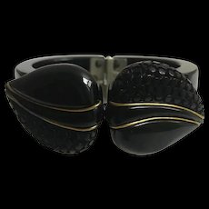 Bakelite Bracelet Carved in Black with Brass Accent
