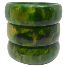 Bakelite Bangle Bracelets Set of 3 Gaudy Marbled in Green and Yellow - Red Tag Sale Item