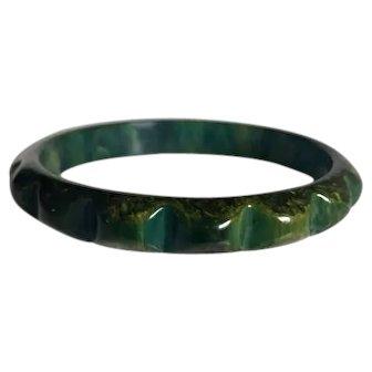 Bakelite  Bangle Bracelet Carved Chicklet Blue Moon Marbled