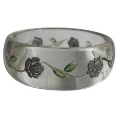 Lucite Bangle Bracelet with Reverse Carved and Painted Flowers & Leaves