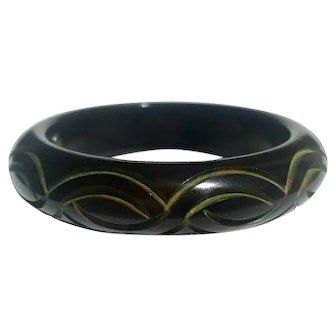 Bakelite  Bangle Bracelet DvF Diane Von Furstenberg Carved  & Resin Washed