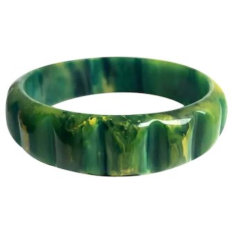 Bakelite  Bangle Bracelet Carved  Vibrant Blue Inkspot