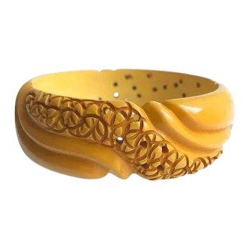 Bakelite  Bangle Bracelet  Intricate Carving