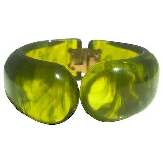 Bakelite Hinged Bracelet Lime Juice Marbled