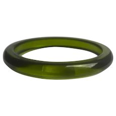 Bakelite  Bangle Bracelet  Transparent Green Olive Oil