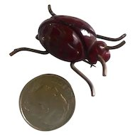 Bakelite Tiny Little Carved Beetle Brooch