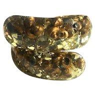Lucite Hinge Bracelet ca. 1950s Shells & Glitter
