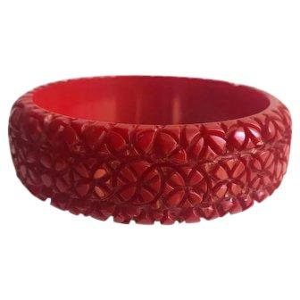 Bakelite  Bangle Bracelet  Carved Circle Upon Circle