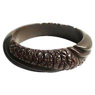 Bakelite  Bangle Bracelet  Carved in Chocolate
