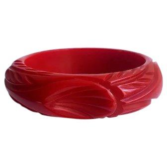 Bakelite  Bangle Bracelet  Carved in Red